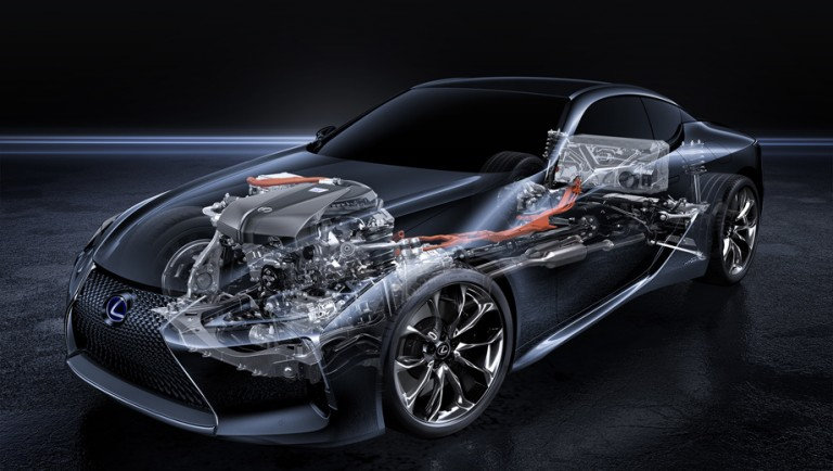 "Drivetrain the Lexus LC 500h connected and progressive transmission ""automatic"""